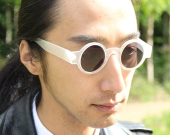 90s vintage round micro sunglasses. Tiny frosted white matt frame with black lenses. Steampunk. Club kids. Unused NOS.