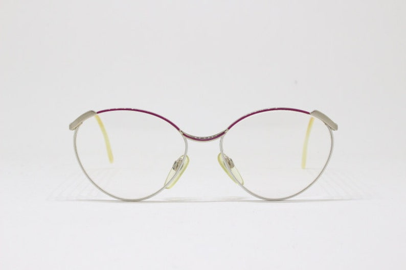 ac6654b0086b Vintage 80s pink and white designer spectacles by Duncker