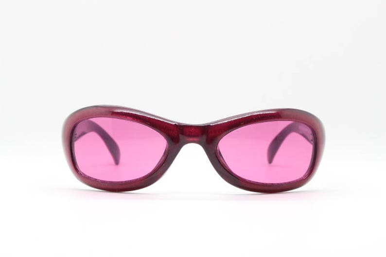 ddc65f91d018 90s sunglasses. Vintage wraparound in red frame with pink   Etsy