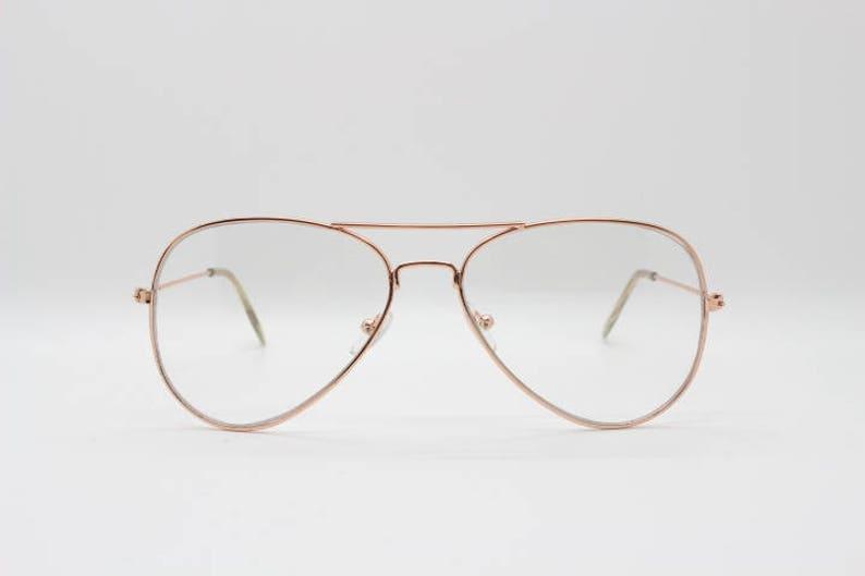 e44070e0c8bd Aviator glasses clear lens metal teardrop spectacles. Gold