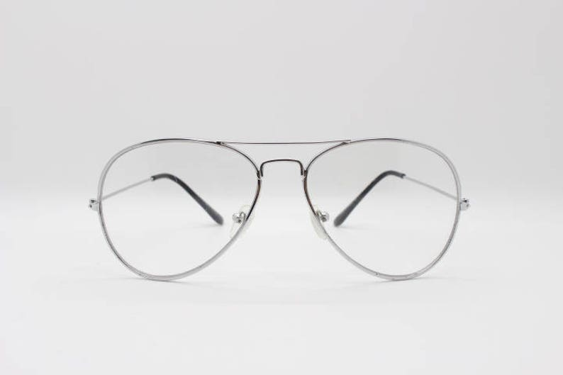 bddaa91e8c Aviator glasses clear lens metal teardrop spectacles. Silver