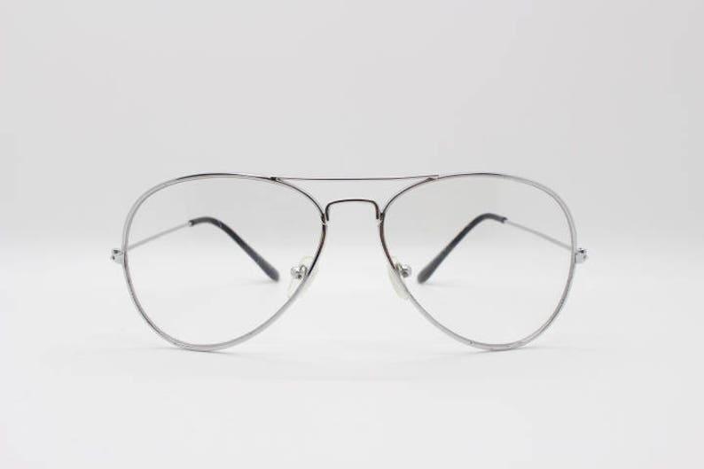 bd7b84848b5c Aviator glasses clear lens metal teardrop spectacles. Silver