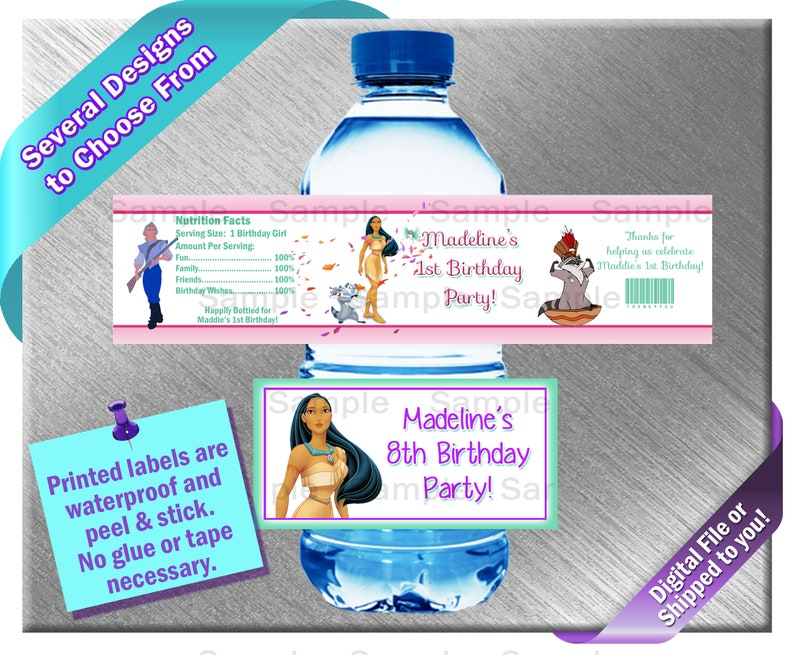 Pocahontas Water Bottle Labels Printed Or File Birthday Etsy
