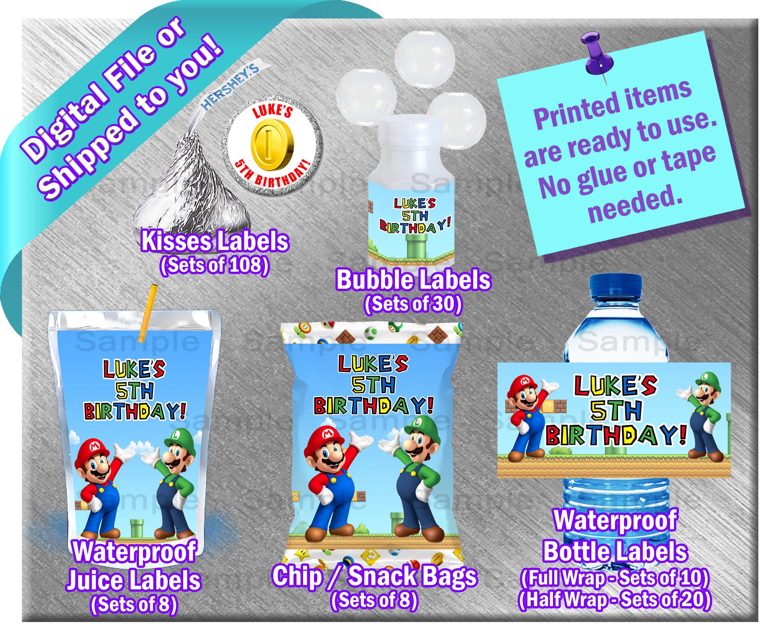 Super Mario ~ Water Bottle Labels ~ Birthday Party Baby Shower Supplies Juice