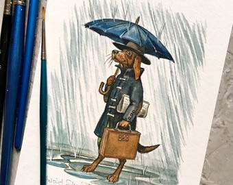 Umbrella Dog (original art)