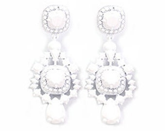 A Love Affair  Earrings - White powder coated bubble earrings, beadwork statement earrings, bridal bridesmaid earrings, party earrings