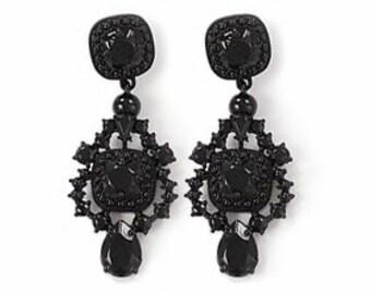 A Love Affair  Earrings - Black powder coated bubble earrings, beadwork statement earrings, bridal bridesmaid earrings, party earrings