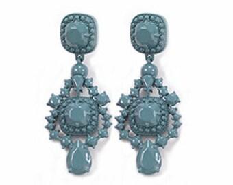 A Love Affair  Earrings - Teal blue powder coated bubble earrings, beadwork statement earrings, bridal bridesmaid earrings, party earrings