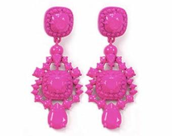 A Love Affair  Earrings - Hot pink powder coated bubble earrings, beadwork statement earrings, bridal bridesmaid earrings, party earrings