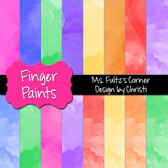 finger paint digital paper backgrounds for personal and etsy