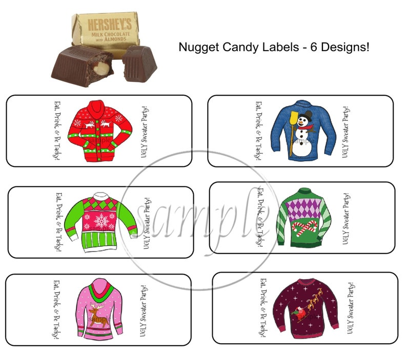 Christmas Stickers Stocking Stuffers Christmas Party Favors Ugly Christmas Sweater Hershey Nugget Labels 30 CT Printed Labels