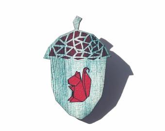 Red Origami Squirrel Acorn Pin Brooch - Squirrel Jewelry - Fall Woodland Jewelry - Squirrel Friend Beanie Pin -  North Carolina Gift