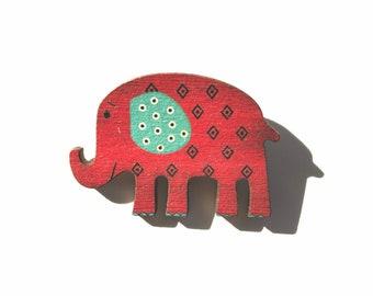 Red Happy Elephant Pin Brooch, Folk Art Elephant Badge