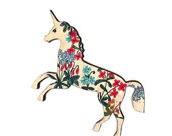 Magical Unicorn Pin, Folk Art Unicorn Broach, Whimsical Jewelry, Fairy tale gift