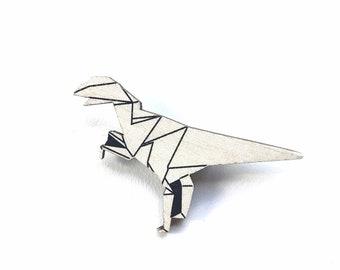 Origami T-Rex,  Origami Dinosaur, T-rex Brooch, Dinosaur Pin, Dinosaur Brooch, White Origami Dinosaur, Wooden Brooch,  Friend Gift