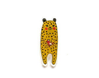 Leopard pin, spotted leopard brooch, cute bright jewelry, mothers day gift, acrylic jewelry