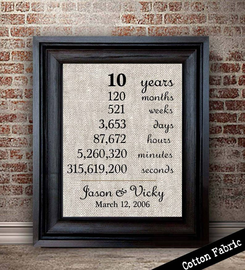10 Years Together 10th Anniversary Gifts 10 Year Etsy