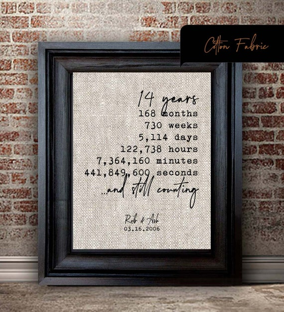 Personalized 14 Year Wedding Anniversary Gift For Wife 14th Etsy