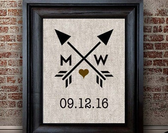 Cotton Anniversary Gift | Heart and Arrow Print  | Wedding Shower Gift | Engagement Gift | Cotton Print | Gift for Couple