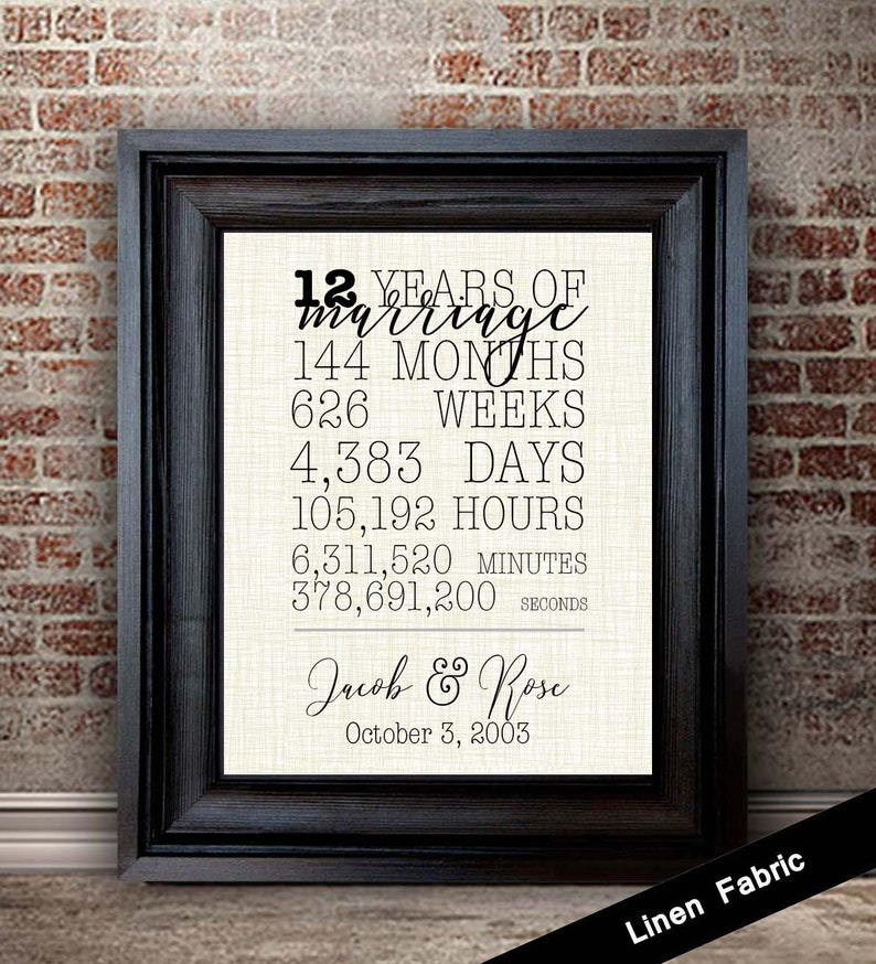 12 Year Wedding Anniversary Gift For Wife 12th Anniversary Gift For Husband Gift For Couple Linen Fabric Print Months Days Years