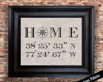Latitude Longitude Print | Real Estate Gift | Personalized Housewarming Gift | Gift for Couple | Cotton Print | Nautical Print
