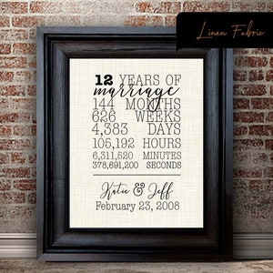 12th Anniversary Gift For Wife 12 Year Anniversary Gift For Etsy