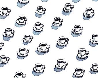 coffee adict pattern print