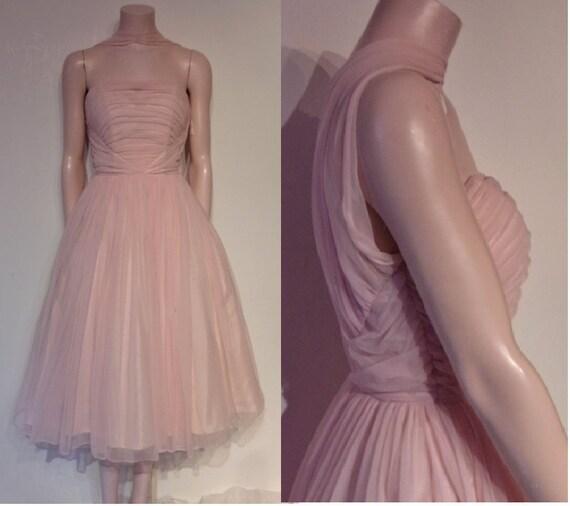 Outstanding 1950s reverse halter neck pink chiffon