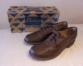 Cool 1950s ladies golf shoes in original box, remarkable textured vinyl uppers US 7 - 7 1/2 / UK 5 - 5 1/2