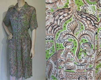 """Great late 1940s novelty print rayon day dress persian theme bust 36""""/37"""""""