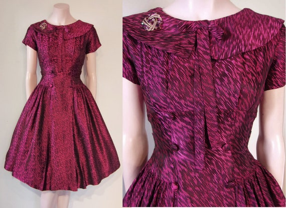 Fab 1950s fit and flare woven pattern full skirted cocktail dress waist 24 rockabilly