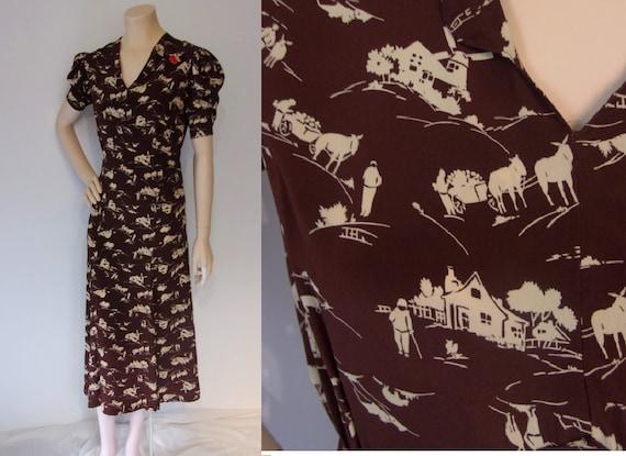 Ultimate 1930s silk novelty print day dress w/ far