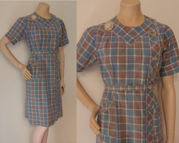 "Adorable 1930s cotton wrap house dress bust 35"" ic"
