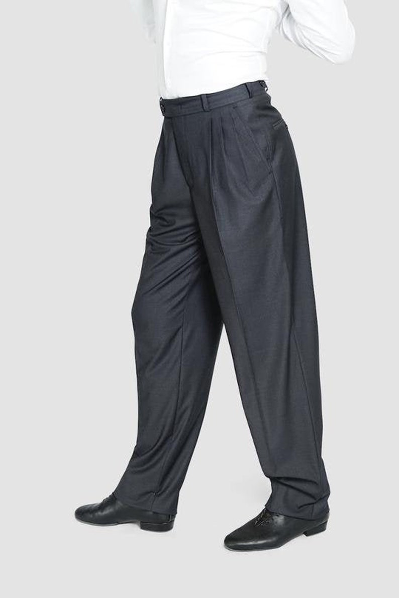 1950s Men's Pants, Trousers, Shorts | Rockabilly Jeans, Greaser Styles Classic Tango Pants Dark Grey $118.62 AT vintagedancer.com
