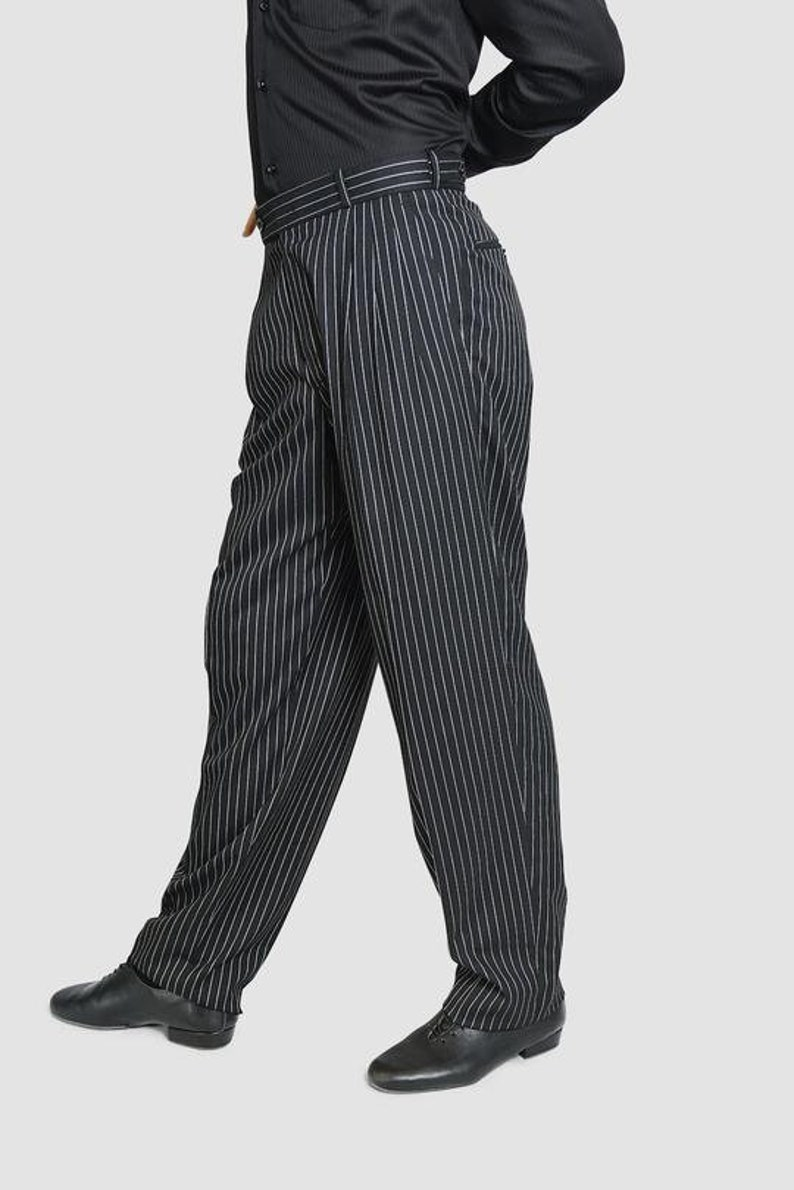 1950s Men's Pants, Trousers, Shorts | Rockabilly Jeans, Greaser Styles Classic Tango Pants Black White Stripes $118.62 AT vintagedancer.com