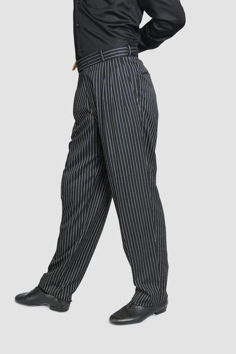 1940s Men's Clothing Classic Tango Pants Black White Stripes $118.62 AT vintagedancer.com