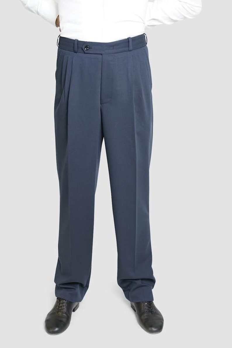 1940s Trousers, Mens Wide Leg Pants Classic Tango Pants Petrolium Textured $105.06 AT vintagedancer.com