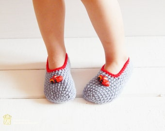 Grey Crochet Slippers with Red Buttons