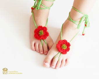 Crochet Barefoot Sandals Beach Shoes Foot Jewelry.Crochet Barefoot Sandals for Kids.Kids Barefoot Sandals, Kids Anklet,Kids Sandals