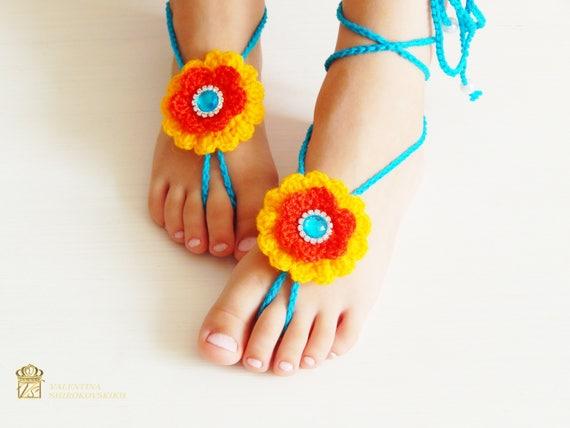 Häkeln Sie barfuss Sandalen Strand Yoga Schuhe Fuß | Etsy
