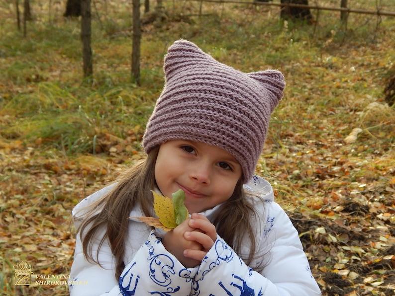 00ccd8f1fc2 Chapeau de chat tricoté de loreille. Tricot bonnet oreille de