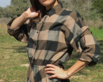 Vintage Buffalo Check Shirtdress