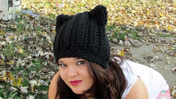 Katzen Ohren Mütze schwarze Katze häkeln gerippte | Etsy