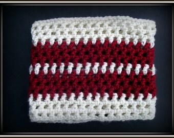 Crochet Infinity Cowl, Maroon and Cream Cowl, Neckwarmer