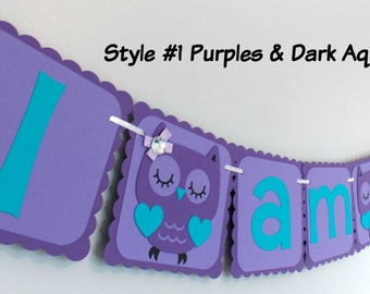 Purple Owl Banner/ Purple & Teal Owl Party/ Purple Owl Birthday Banner/ Purple Owl Party Supplies / Purple Owl Baby Shower Banner/ I am one