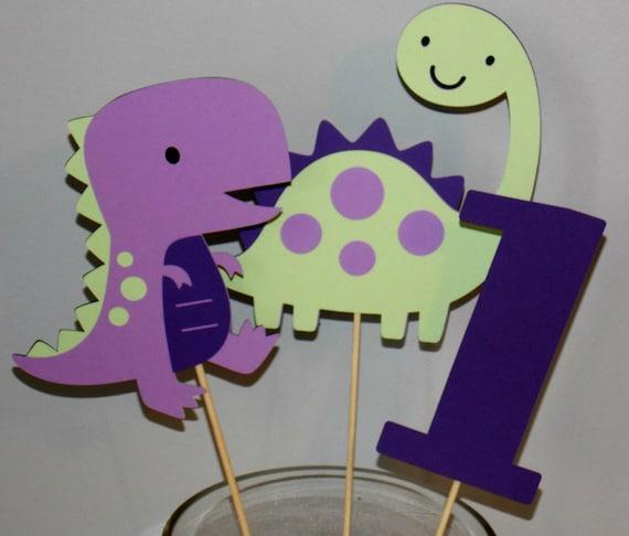 Purple Girl Dino Party Girl Dinosaur Centerpiece Purple Etsy