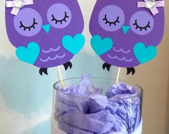 Purple Owl Centerpieces/ Owl Baby Shower/ Purple Owl Party/ Girl Owl Birthday Party/ Purple Baby Shower/ Purple Teal Owl/ Owl Party Supplies