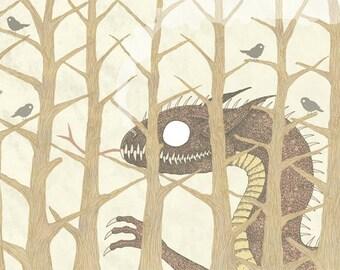 Dragon and Birds A4 Print