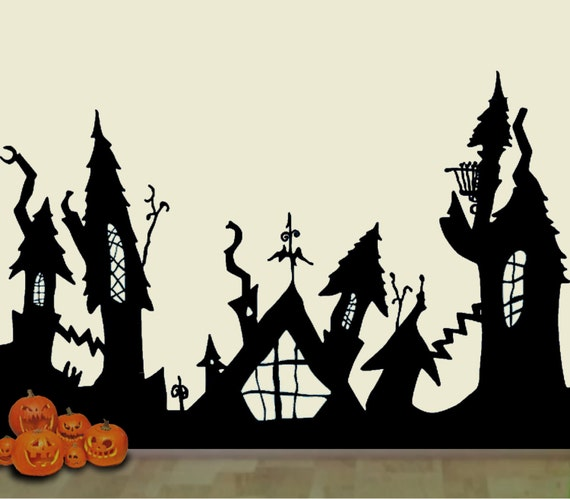 Nightmare Before Christmas Houses.Huge 5 Feet Tall Halloweentown Nightmare Before Christmas Wall Decal Mural Free Us Shipping