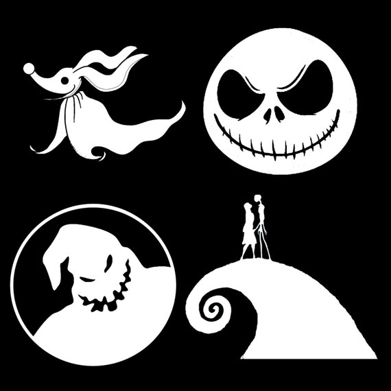 Nightmare Before Christmas Vinyl Decals Set Of 40 Stickers Etsy Inspiration Jack And Sally Pumpkin Patterns For Free